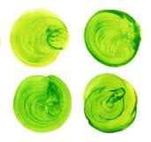 Insieme del cerchio dipinto a mano dell'acquerello verde isolato su bianco Illustrazione per progettazione artistica Macchie roto Immagine Stock Libera da Diritti