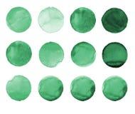 Insieme del cerchio dipinto a mano dell'acquerello verde isolato su bianco Illustrazione per progettazione artistica Macchie roto Immagini Stock Libere da Diritti