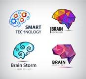 Insieme del cervello, tecnologia, logo di vettore di lampo di genio illustrazione vettoriale