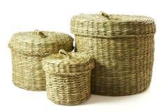 Insieme del cestino del Seagrass fotografia stock