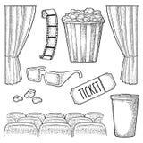 Insieme del cinema Illustrazione nera d'annata dell'incisione di vettore Royalty Illustrazione gratis