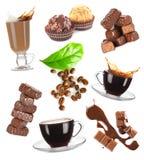 Insieme del cioccolato e del caffè Fotografia Stock