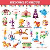 Insieme del circo piano moderno e del carnevale di progettazione illustrazione di stock