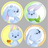 Insieme del clipart rotondo con i conigli svegli del bambino, animali del bambino, tema di autunno, foglie, sciarpa per l'abbigli illustrazione di stock