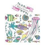 Insieme del clipart Vita marina Pesce, calamaro, medusa, alghe, coralli, stelle marine, coperture Illustrazione di vettore illustrazione di stock