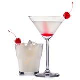 Insieme del cocktail bianco isolato su fondo bianco Fotografia Stock Libera da Diritti