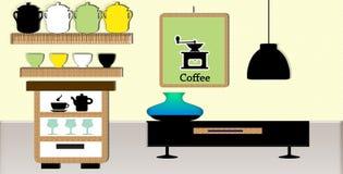 Insieme del coffei della tazza dentro la stanza Immagine Stock