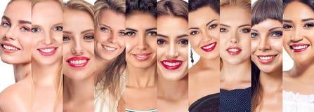 Insieme del collage dei fronti delle donne Fotografia Stock
