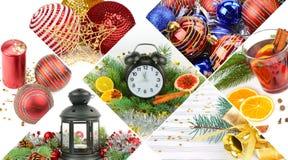 Insieme del collage delle decorazioni di Natale Fotografia Stock Libera da Diritti