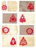 Insieme del collage di Grunge stile c dell'albero di Natale di retro Fotografia Stock Libera da Diritti