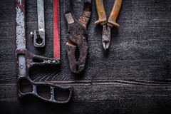 Insieme del concetto d'annata della costruzione delle pinze del tagliafili della sega a mano Fotografie Stock Libere da Diritti