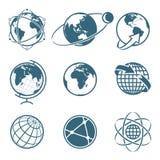 Insieme del concetto della comunicazione globale della terra dell'icona Globo semplice illustrazione vettoriale