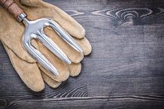 Insieme del concetto di agricoltura dei guanti di sicurezza del cuoio della forcella della cazzuola Fotografie Stock Libere da Diritti