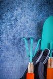 Insieme del concetto di agricoltura dei guanti protettivi del rastrello del metallo della cazzuola della mano Immagine Stock Libera da Diritti