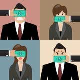 Insieme del concetto di corruzione Immagini Stock Libere da Diritti