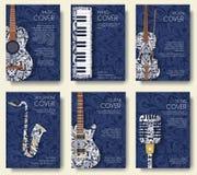 Insieme del concetto musicale dell'illustrazione dell'ornamento Musica di arte, manifesto, libro, manifesto, estratto, motivi del Immagine Stock