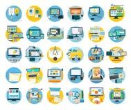 Insieme del concetto piano dell'icona di web design illustrazione vettoriale