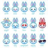 Insieme del coniglio divertente degli emoticon Immagine Stock Libera da Diritti