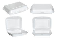 Insieme del contenitore bianco di schiuma di stirolo isolato su bianco Immagine Stock