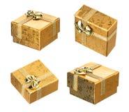 Insieme del contenitore di regalo dorato Fotografia Stock Libera da Diritti