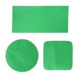 Insieme del contrassegno di cuoio verde in bianco Immagine Stock Libera da Diritti