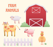 Insieme del cortile degli animali da allevamento Immagine Stock Libera da Diritti