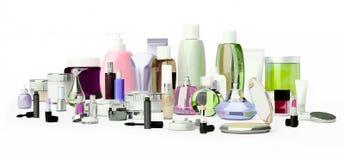 Insieme del cosmetico decorativo Polvere, correttore, spazzola dell'ombretto, Immagini Stock