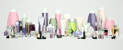 Insieme del cosmetico decorativo Polvere, correttore, spazzola dell'ombretto, Immagini Stock Libere da Diritti