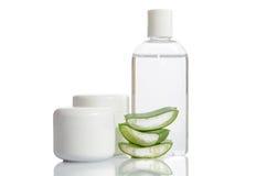 Insieme del cosmetico di aloe organico vera Fotografia Stock