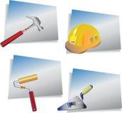 Insieme del costruttore Strumenti di riparazione e del casco illustrazione di stock