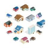 Insieme del cottage della casa di città, stile isometrico 3d Immagine Stock Libera da Diritti