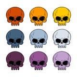 Insieme del cranio Cranio colorato Insieme dello scheletro capo colorato multi Immagine Stock