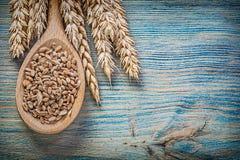 Insieme del cucchiaio di legno del grano della segale dei grani maturi delle orecchie sul bordo di legno Fotografia Stock Libera da Diritti
