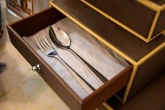 Insieme del cucchiaio e della forchetta Immagini Stock Libere da Diritti
