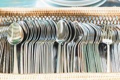 Insieme del cucchiaio e della forchetta Fotografie Stock Libere da Diritti