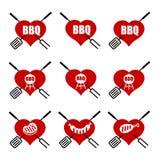 Insieme del cuore del bbq di logo Immagine Stock