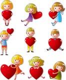 Insieme del cuore dell'abbraccio del bambino Fotografia Stock