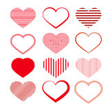 Insieme del cuore. Valentine Symbols rosso. Fotografia Stock
