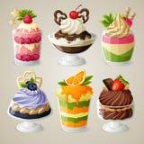 Insieme del dessert della mousse del gelato dei dolci Fotografia Stock