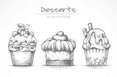 Insieme del dessert Icone dell'alimento Dolce, gelato, bigné, dolci Illustrazione di vettore della raccolta di schizzo della mati illustrazione vettoriale