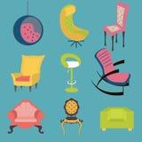 Insieme del dettaglio interno delle sedie variopinte Fotografia Stock Libera da Diritti