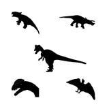 Insieme del dinosauro della siluetta. Illustrazione nera di vettore. Fotografia Stock Libera da Diritti