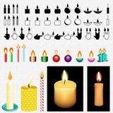 Insieme del disegno dell'icona e di vettore della candela Immagini Stock Libere da Diritti
