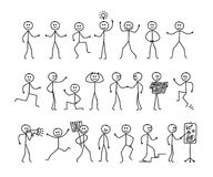 Insieme del disegno dell'uomo, pose differenti, figura pittogramma del bastone della gente Illustrazione di disegno a mano libera Immagine Stock Libera da Diritti