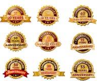 Insieme del distintivo dell'oro di anniversario Fotografia Stock Libera da Diritti