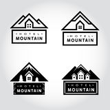 Insieme del distintivo della montagna dell'hotel Fotografia Stock