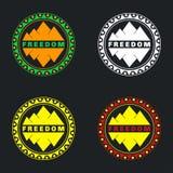 Insieme del distintivo della montagna Può essere usato come autoadesivi, il logos, il fondo f illustrazione di stock