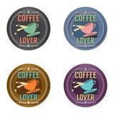 Insieme del distintivo di simbolo del caffè Immagini Stock