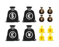 Insieme del dollaro della borsa dei soldi, euro, sterlina, simbolo di Yen Illustrazione di vettore Isolato su priorità bassa bian Fotografia Stock