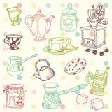 Insieme del doodle disegnato a mano - tempo del caffè e del tè Fotografia Stock Libera da Diritti